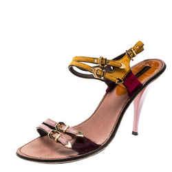Louis Vuitton Multicolor Calf Hair Buckle Ankle Strap Sandals Size 38.5