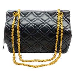 Chanel Vintage Quilted Black Leather Shoulder Bag