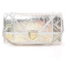 Auth Christian Dior Diorama Leather Chain Wallet Silver