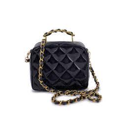 Chanel Vintage Black Patent Small/Mini Vanity Case Crossbody Bag 24k GHW