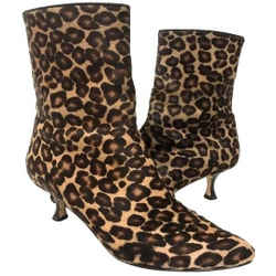Manolo Blahnik Short Leopard Calf Hair Boots Size 37