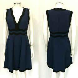 $1395 Gucci Blue Black Trim Sleeveless V-neck Knee Length Dress Us Large L