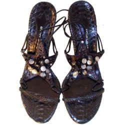 EMANUEL UNGARO Snake Skin Star High Heel Sandals with Ankle Strap Size 7 1/2