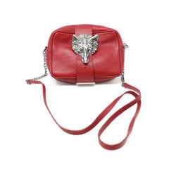 Zadig & Voltaire Red Leather Wolf Face Crossbody