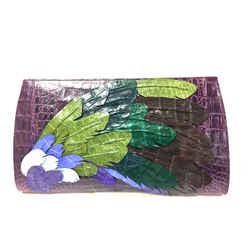 NANCY GONZALEZ Purple Croc-Skin Clutch Bag with Multicolor Leaf Appliques