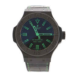Big Bang All Black Green Automatic Watch Ceramic and Alligator with Rubber 48