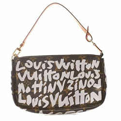 Auth Louis Vuitton Louis Vuitton Monogram Graffiti Pochette Accesoir Brown Pvc