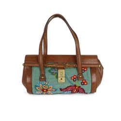 Gucci Brown Cognac Lizard Embroidery Satchel Handbag