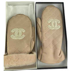 Chanel Real Leather Beige Quilted CC Logo Faux Shearling Mitten Gloves 861101