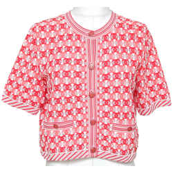 CHANEL Cardigan Sweater Knit Red Pink White Pocket Crew Button 42 19P 2019 NWT