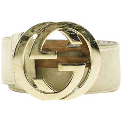 Gucci Beige Guccissima Leather GG Interlocking Belt 737ggs324