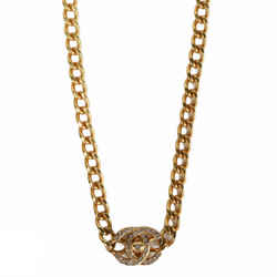 Chanel Cc Crystal Gold Tone Necklace