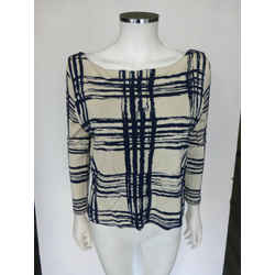 Balenciaga Ivory Blue Plaid Tank Lined Wool Knit Sweater Size 38 Us 2