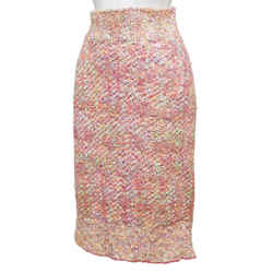 CHANEL Skirt Tweed Fantasy Pink Multi-Color High Waisted Lined Sz 38