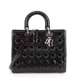 Lady Dior Bag Cannage Quilt Patent Large