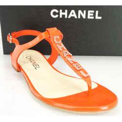 Chanel Sport Red Beach Logo T Strap Sandals Sz 37c Nib Cc Ankle $875