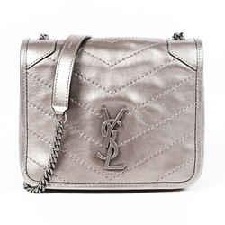 Saint Laurent Bag Niki Chain Wallet Platinum Matelasse YSL Crossbody