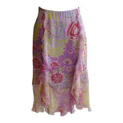 Emanuel Ungaro Silk Floral Ruffle Skirt (34)
