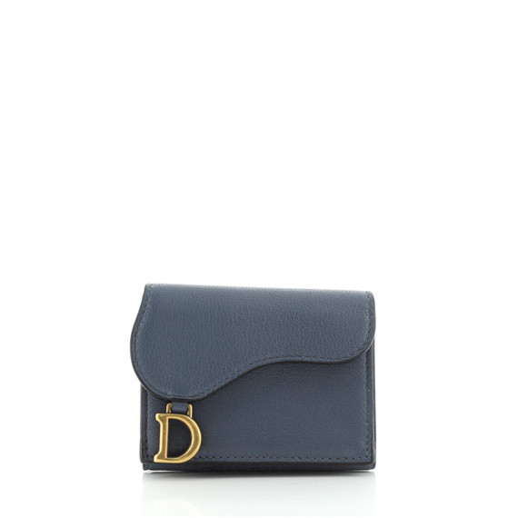 Saddle Trifold Flap Wallet Leather Compact