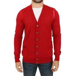 Karl Lagerfeld Red Wool Cardigan Men's Sweater