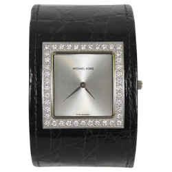 MICHAEL KORS Black Crocodile Diamond Embellished Cuff Watch