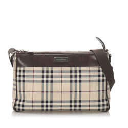 Vintage Authentic Burberry Brown House Check Canvas Crossbody Bag United Kingdom