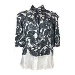 DRIES VAN NOTEN Black & White Bird Print Button Down Shirt Size 36