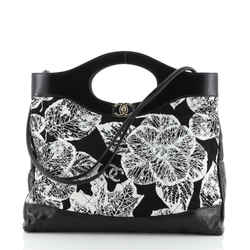 31 Shopping Bag Quilted Printed Cotton and Calfskin Large