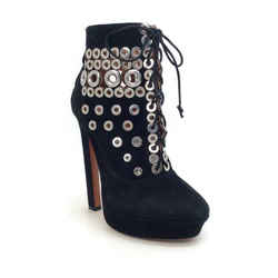 AlaIa Black Suede Lace Up With Grommets Boots