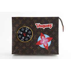 Louis Vuitton Monogram Pouch 26 Limited Sticker Brown Canvas Clutch