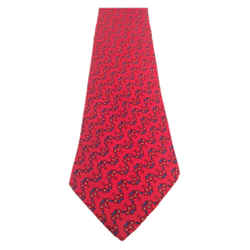 HERMES Imperial Red Silk Neck Tie Print 59 in.