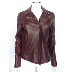 Gucci Burgundy Leather Jacket W/gold Gucci Hardware Sz Sm Eu 40