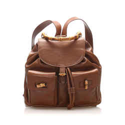 Brown Gucci Bamboo Drawstring Leather Backpack Bag