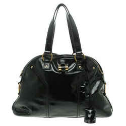 Saint Laurent Paris Black Patent Leather Large Muse Tote