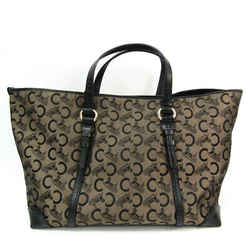 Celine C Macadam Carriage Pattern Women's Canvas,Leather Tote Bag Black BF522620