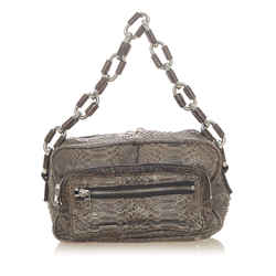 Vintage Authentic Chloe Gray Python Leather Leather Chain Shoulder Bag Italy