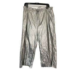 Mm6 Maison Martin Margiela Silver Metallic High Drawstring Cropped Pants Sz 6/44