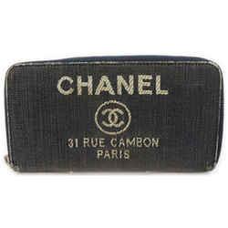 Chanel Denim CC Logo Deauville Zippy Wallet Zip Around Continental 862008