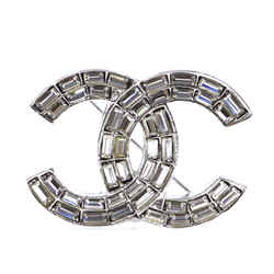 Chanel Silver Baguette CC Crystals Brooch