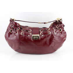 Jimmy Choo Ramona Crushed Shoulder Bag Burgundy