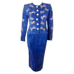 YVES SAINT LAURENT 2 pc Blue Suede and Rhinestone Skirt Set