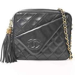 Auth Chanel Chanel Lambskin Coco Mark Fringe Chain Shoulder Bag Black