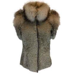 Valentino Taupe Persian Lamb & Fox Fur Vest