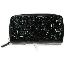 Chanel Black Embossed Patent Charm Zippy Wallet Long Zip Around 862355
