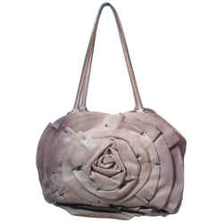 VALENTINO Distressed Rosebud Grey Leather Shopper Handbag