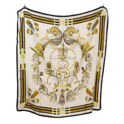 Hermes 'Panache Fantaisie' White Black Gold Silk Scarf