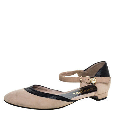 Chanel Beige/black Suede And Leather D'orsay Ankle Strap Flats Size 36.5