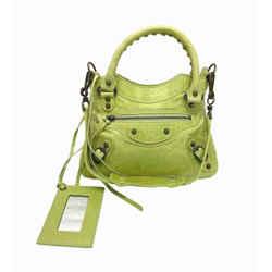 Balenciaga Citrine Green Mini Classique Fringe Leather Hand Shoulder Bag Purse