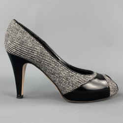 GIANVITO ROSSI Size 7 Grey Tweed Patent Leather Tweed Open Toe Pumps
