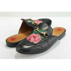 Gucci Women's Embroidered Leather Princetown Mules